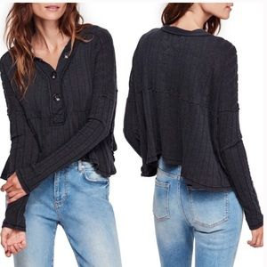 Free People dark gray chunky ribbed henley large